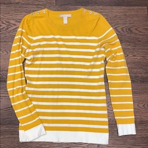 Banana Republic | Yellow and Cream Striped Sweater
